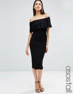 ASOS Tall   ASOS TALL Ruffle Off Shoulder Bardot Pencil Midi Dress at ASOS