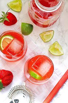 ... for homemade strawberry rhubarb simple syrup. | honeyandbirch.com