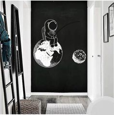 Astronaut Wall Decals For Nursery Room Astronaut Wall Decals For Nursery Room – The Treasure Thrift This image has get. Outer Space Nursery, Space Themed Nursery, Nursery Room, Boy Room, Chalkboard Art Quotes, Chalkboard Wall Bedroom, Nursery Wall Decals, Wall Murals, Bedroom Wall Designs