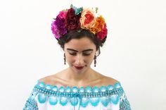 Day of the Dead Headpiece -  Frida Kahlo Costume, Dia de los Muertos Costume, Flower Crown, Floral Crown, Mexican Headband, Rainbow, Boho by BloomDesignStudio on Etsy https://www.etsy.com/listing/233949372/day-of-the-dead-headpiece-frida-kahlo