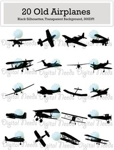 60 Airplane Silhouettes Clip Art / png and SOURCE by DigitalNeeds