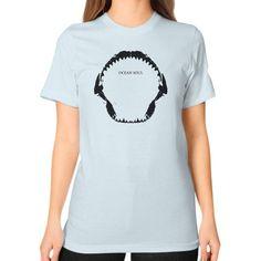 Shark Mouth Ocean Soul Art Unisex T-Shirt (on woman)