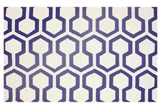 Belmont Rug, White/Blue on OneKingsLane.com