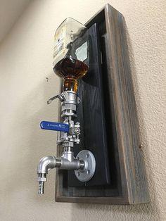 Whiskey Dispenser, Alcohol Dispenser, Drink Dispenser, Drink Holder, Stainless Steel Fittings, Plumbing Installation, Pipe Decor, Garage Bar, Battery Operated Lights