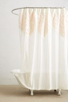 Anthropologie White French Lace Netting Ruffle Shower Curtain - Pale pink shower curtain