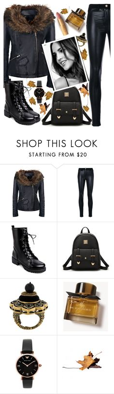 """black leather"" by teto000 ❤ liked on Polyvore featuring Versace, Gucci, NARS Cosmetics, Burberry, Emporio Armani, blackleather, Leather, bag, jacket and pants"