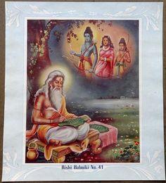 "India Hindu 10.5""x11.5"" Vintage poster 1940s -  Rishi Balmiki picclick.com"