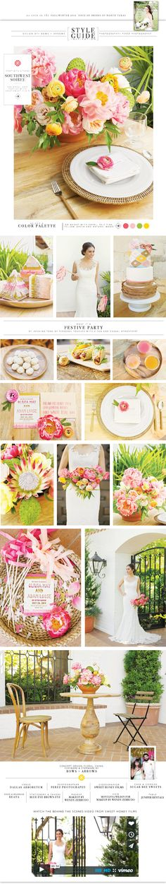 Southwest inspired wedding designed bows + arrows flowers featured in Brides of North Texas Magazine.
