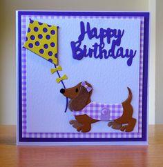 Birthday Card - Marianne Collectables Dachshund Die & Elizabeth Craft Kite Die.  To purchase my cards please visit CraftyCardStudio on Etsy.com.