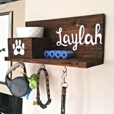 Dog Leash Holder, Dog Collar Holder, Custom Dog Leash Holder, Dog Leash Hanger, Dog Treat Holder, Dog Collar Sign, Personalized Dog Sign by KaysDekor on Etsy https://www.etsy.com/listing/290327519/dog-leash-holder-dog-collar-holder