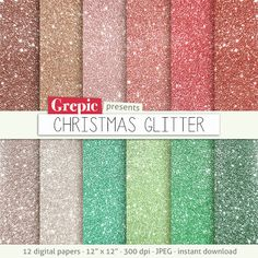 "Christmas digital paper: ""CHRISTMAS GLITTER"" with christmas sparkle / holiday glitter backgrounds and sparkling textures in holiday colors #etsy #scrapbooking"