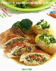 Les plats roumaines: Côtelettes de porc farcies au ragoût de brocolis