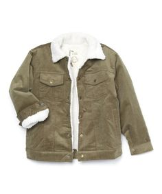 Another great find on #zulily! Olive Green Corduroy Cooper Jacket - Toddler & Boys #zulilyfinds