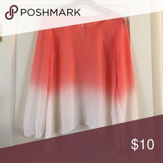 Coral Ombre Sheer Long Sleeve Blouse Lovely Long Sleeve Sheer Coral Ombre Blouse Studio Y Tops Tees - Long Sleeve