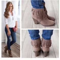 """Fringe ankle boots 3"""" heel. Taupe faux vegan  suede fringe booties. Taupe Shoes Ankle Boots & Booties"""