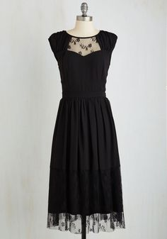Your Good Graces Dress in Noir - Long, Black, Solid, Lace, Special Occasion, Party, Cocktail, A-line, Sleeveless, Woven, Better, Variation