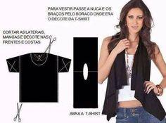 Cool Ideas to Refashion Old Shirts 8 Shirt Refashion, T Shirt Diy, Shirt Vest, Diy Clothing, Sewing Clothes, Diy Fashion, Ideias Fashion, Fashion Sewing, Umgestaltete Shirts