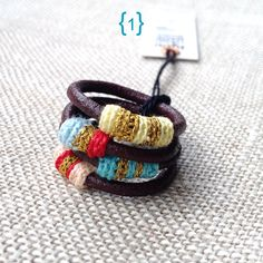 Leather and cotton stacking rings por kjoo en Etsy