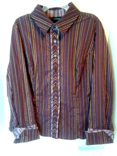 Lane Bryant 18-20 Plum Multi-color Striped Long Cuffed Sleeve Cotton Spandex #LaneBryant #ButtonDownShirt #Casual