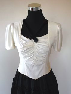 30's 40's Vintage Black & White Party Evening Dress XS S 32 Inch Bust.