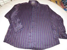 Faconnable Designed in France Mens long sleeve striped L button shirt EUC@ #Faonnable #ButtonFront
