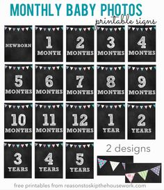 monthly baby photo signs - the yearly one may be good for birthday parties.