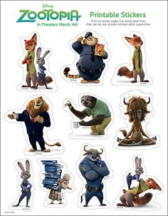 Zootopia Stickers Vinyl Loot Bag Party 6 x Sticker Sheets