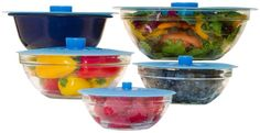 Amazon.com: Silicone Bowl Lids, Set of 5 Reusable Suction Seal Covers for Bowls, Pots, Cups; Food Safe: Kitchen & Dining