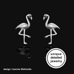 Flamingo Earrings – Sterling Silver Bird Stud Earrings. The perfect gift for flamingo lover. You will love their delicate design! These cute earrings have a wonderful detailing and flawless 3D craftsmanship with my unique repousse technique. #flamingo #flamingoearrings #animalearrings #flamingojewelry #flamingogift #silverflamingo