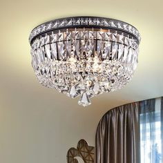 Light up your home with this Elisa Antique Black and Crystal Flushmount Chandelier. This 4 -light chandelier is made of crystal and iron and features a black finish that will enhance the decor Flush Mount Chandelier, Flush Mount Lighting, Chandelier Lighting, Crystal Chandeliers, Lighting Store, Home Lighting, Lighting Ideas, Kitchen Lighting, Closet Lighting