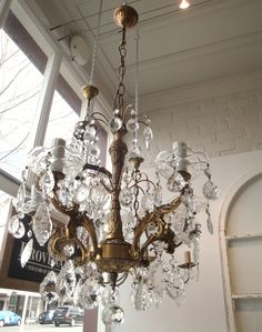 Dainty French 5 arm crystal chandelier.. www. pure-provenance.com