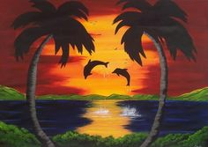 Dolphins At Sunset by Paula Marley - Dolphins At Sunset Painting ...