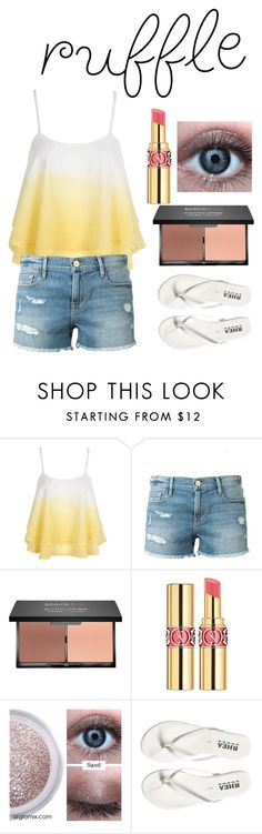 """""""yellow ruffle"""" by gracegrimm on Polyvore featuring WithChic, Frame Denim, blacklUp, Yves Saint Laurent and ruffles"""