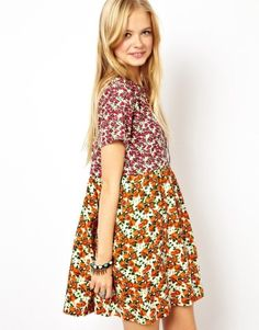 Smock Dress In Mixed Floral