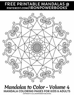 Easy mandala coloring pages for kids and adults from Mandalas to Color - Volume 4 | For a paperback copy, with 50 unique mandala designs, visit http://www.amazon.com/Mandalas-Color-Mandala-Coloring-Adults/dp/1496033418  | Please use freely for personal non-commercial use