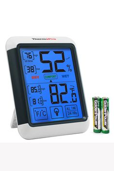 ThermoPro Digital Hygrometer Indoor Thermometer Gauge with Jumbo Touchscreen and Backlight Temperature Humidity Monitor, Large Size - x x White & Grey Cool Kitchen Gadgets, Cool Kitchens, Gadgets Techniques, Humidity Sensor, Battery Indicator, Types Of Rooms, Temperature And Humidity, Digital Thermometer, Car Gadgets