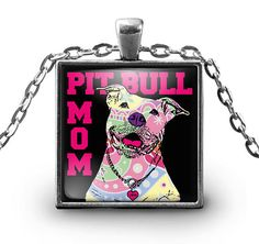 Pitbull Mom Pitbull Mom Square Necklace *****You can also use your pendant as a charm, Attach it to your key chain, wallet, purse, hang it on your rear view mirror... There are endless possibilities for showing off your pendant.  ***UV Resistant * Waterproof * 100% Made In The USA ***18 inch High quality silver plated necklace chain. Pendant is 1 inch in diameter. ***Silver plated Pit Bull Pendant with a custom hardened resin insert to show the highest quality color vibrance in your necklace…