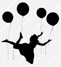 PhotoSpin's Royalty Free Stock Photograph of Silhouette Girl Child Riding Balloons by Jaimie Duplass.