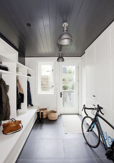 Black shiplap ceilin