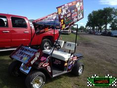 Tailgating at River Cities Speedway during a World of Outlaw Sprint Car event you can see some cool hardware in the parking lot like this Sprint Car themed Golf cart! ~ Photos By Rick Rea