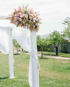 The customary structure of four poles and a covering can take on many different styles.