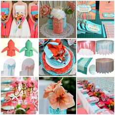 Coral and Turquoise is the perfect beach colour combination, though it doesn't have to be indicative of a beach theme. It's a gorgeous pala...