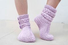 Lilac Cable Slippers, Knit Slippers with lilac button, House Slippers, Unisex, Foot Warmer Accessories on Etsy, $25.37