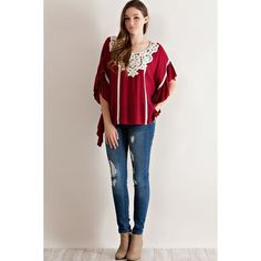 Crochet Lace Baby Doll Blouse Burgundy (56 BAM) ❤ liked on Polyvore featuring tops, blouses, crochet lace top, crochet lace blouse, burgundy top, baby doll tops and babydoll blouse