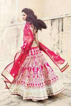 Beautiful fushia pink lehenga from Anita Dongre