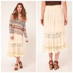 """Free people lace therapy skirt Free people lace therapy skirt....nice vintage feel...31"""" in length, Elastic shirring at back waistband for slip on styling, Partially lined. New with out tags, no trades. Free People Skirts"""