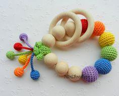 Baby teether Rainbow Baby Toy Rattle Crochet Wood teether Crochet teething toy Gift for baby