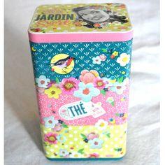 Latas de Té Mon Jardín Sucré. Conjunto de tres latas metálicas apilables para té Lunch Box