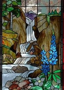Waterfall Stained Glass Window