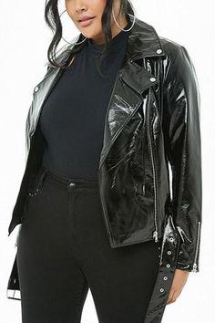 5ba2c19e7e11cc Forever 21 Plus Size Faux Patent Leather Moto Jacket
